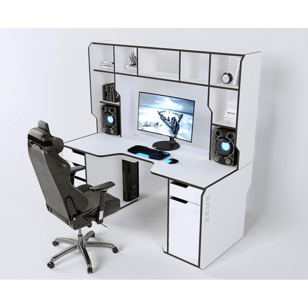 Геймерский стол с надстройкой Viking-4S Zeus белый + черная кромка