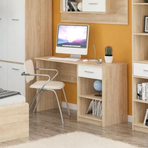 Стол письменный 1Ш Типс Дуб самоа/Белый Мебель-Сервис