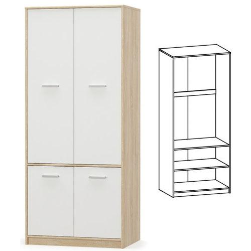 Шкаф 4Д Типс Дуб самоа/Белый Мебель-Сервис