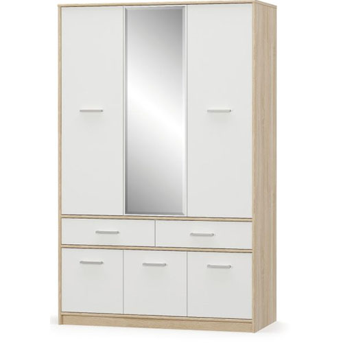 Шкаф 6Д2Ш Типс Дуб самоа/Белый Мебель-Сервис