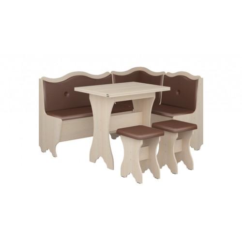 Кухонный уголок Пехотин Герцог с раскладным столом + 2 табурета
