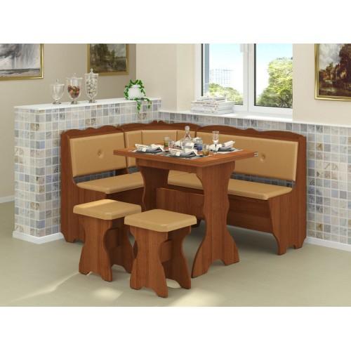 Кухонный уголок Пехотин Лорд с раскладным столом + 2 табурета