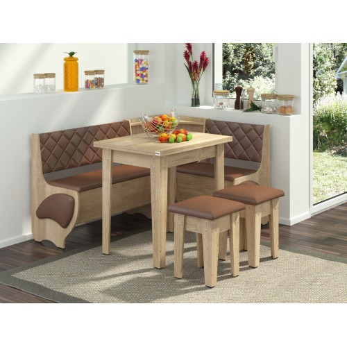 Кухонный уголок Пехотин Милорд с раскладным столом + 2 табурета